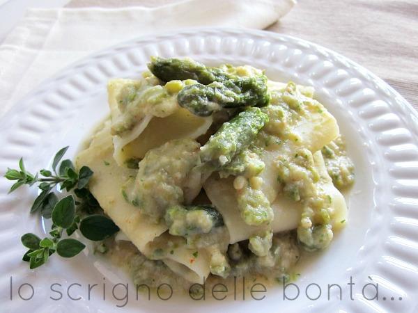 pasta con crema di mazzancolle e asparagi 2